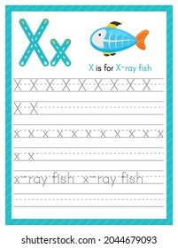Trace letter X uppercase and lowercase. Alphabet tracing practice preschool worksheet for kids learning English with cute cartoon animal. Activity page for Pre K, kindergarten. Vector illustration