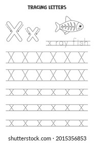 Trace letters of English alphabet. Uppercase and lowercase X. Handwriting practice for preschool kids.
