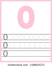 Trace line number for kindergarten and preshool kids. Write a null. Pastel color pink. Dot background. Vector illustration.