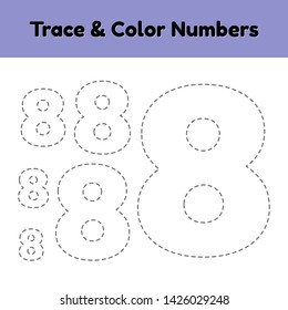Trace line number for kindergarten and preshool kids. Write and color a eight. Vector illustration.