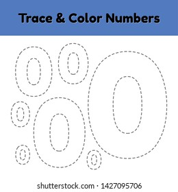 Trace line number for kindergarten and preshool kids. Write and color a null. Vector illustration.