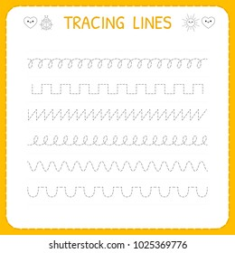Trace line worksheet for kids. Basic writing. Working pages for children. Preschool or kindergarten worksheet. Trace the pattern. Vector illustration