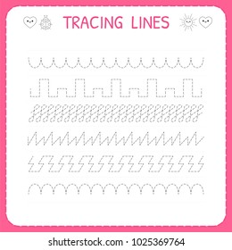 Trace line worksheet for kids. Trace the pattern. Working pages for children. Preschool or kindergarten worksheet. Basic writing. Vector illustration