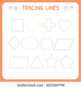 Trace line worksheet for kids. Working pages for children. Preschool or kindergarten worksheet. Trace the shapes. Vector illustration