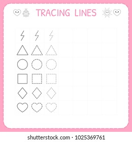 Trace line worksheet for kids. Working pages for children. Preschool or kindergarten worksheet. Basic writing. Trace the pattern. Vector illustration