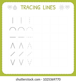 Trace line worksheet for kids. Working pages for children. Preschool or kindergarten worksheet. Trace the pattern. Basic writing. Vector illustration