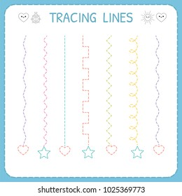 Trace line worksheet for kids. Working pages for children. Preschool or kindergarten worksheet. Basic writing. Vector illustration