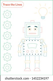 Trace the Lines - Worksheet for Handwriting practice - Robot - Colorful version