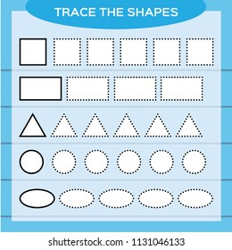Trace the shapes. Kids education. Preschool worksheet. Basic writing. Kids doing worksheets. Fine motor skills. White shapes and blue background. Square, rectangle, circle e.t.c