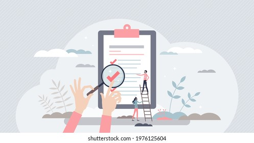 Traceability and product quality control with tracking tiny person concept. Source supply chain logistics verification and monitoring ability for ethical and transparent business vector illustration.