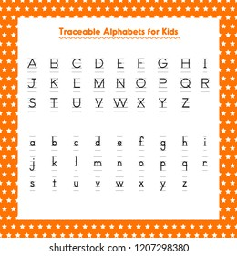 Traceable English Small and Capital Alphabets for Kids