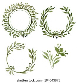traced watercolor tags with leaves frame