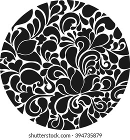 Tracery circle. Abstract ornament. Vector background.  Black tracery circle.  Ornamental round.
