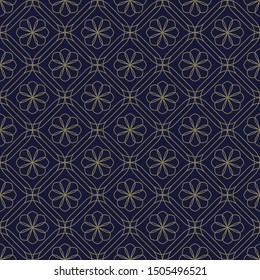 Tracery floral pattern elegant oriental design. Octagon flowers motif on a dark lavender color background. Simple symmetrical elements mosaic ornament. Print block for apparel textile, dress fabric.