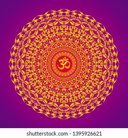 Tracery openwork elegant mandala on a colors background with Aum / Om / Ohm sign in a centre. Vector graphics.