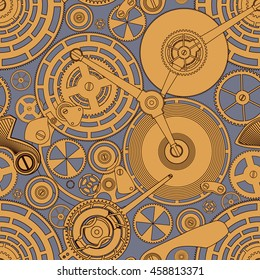 Tracery pattern on the theme of the Time. Gold mechanism on the grey.