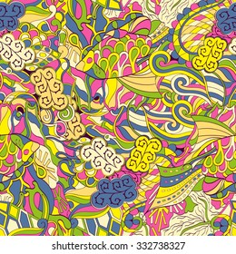 Tracery seamless calming pattern. Mehendi design. Neat even colorful yellow harmonious doodle texture. Algae sea motif. Indifferent discreet. Ambitious bracing usable, curved doodling mehndi. Vector.