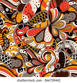 Tracery seamless calming pattern. Mehendi design. Neat even colorful harmonious doodle texture. Algae sea motif. Vector.