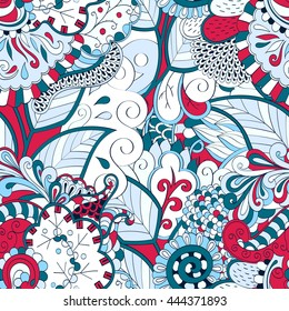 Tracery seamless calming pattern. Mehendi design. Ethnic colorful blue and red doodle texture. Indifferent discreet. Curved doodling mehndi motif. Vector.