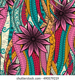 Tracery seamless calming pattern. Mehndi design. Ethnic colorful doodle texture. Curved doodling background. Vector.