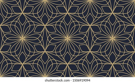 Tracery seamless floral pattern whimsical background. Hexagonal golden flowers motif on a lavender blue. Simple symmetrical geometric elements mosaic ornament. Print block for brocade fabric, jacquard
