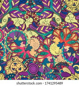 Tracery seamless pattern. Mehndi design. Ethnic colorful doodle texture. Curved doodling background. Vector