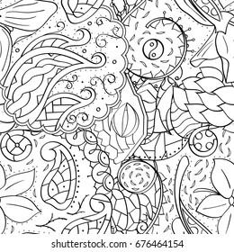 Tracery Seamless Pattern Mehndi Design Ethnic Monochrome Binary Doodle Texture Curved Doodling Black