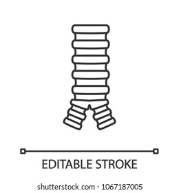 Trachea linear icon. Thin line illustration. Windpipe. Contour symbol. Vector isolated outline drawing. Editable stroke