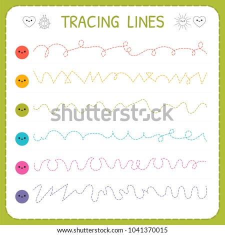 Tracing lines basic writing worksheet kids stock vector royalty basic writing worksheet for kids working pages for children trace ibookread Download