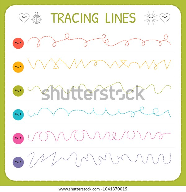 Tracing Lines Basic Writing Worksheet Kids Stock Vector ...