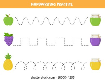 Tracing lines with colorful fruits and jars of jam. Handwriting practice for preschool kids. Writing skills practice.