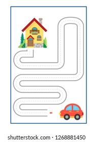 Tracing Lines game  vector for preschool or kindergarten  and special Education. Developing fine motor skills . It great for beginning learners