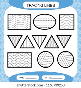 Tracing Lines. Kids education. Preschool worksheet. Basic writing. Kids doing worksheets. Fine motor skills. Waves and zigzag lines. Blue background. Square, circle triangleVector