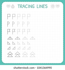 Tracing lines. Worksheet for kids. Trace the pattern. Basic writing. Working pages for children. Preschool or kindergarten worksheets. Vector illustration
