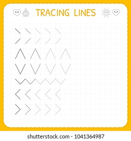 Tracing lines. Worksheet for kids. Working pages for children. Preschool or kindergarten worksheets. Basic writing. Trace the pattern. Vector illustration