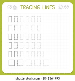 Tracing lines. Worksheet for kids. Working pages for children. Preschool or kindergarten worksheets. Trace the pattern. Basic writing. Vector illustration