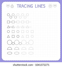 Tracing lines. Worksheet for kids. Working pages for children. Trace the pattern. Basic writing. Preschool or kindergarten worksheets. Vector illustration