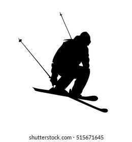 Tracing silhouette of single mountain skier jump isolated on a white background. Vector illustration
