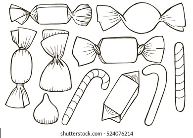 Tracing sketch of set of different candy.