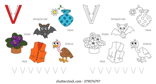 Tracing Worksheet for children. Full english alphabet from A to Z, pictures for letter V