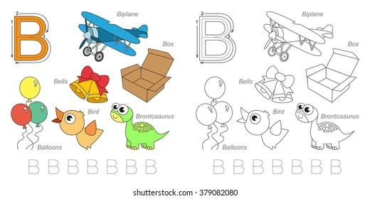 Tracing Worksheet for children. Full english alphabet from A to Z, pictures for letter B