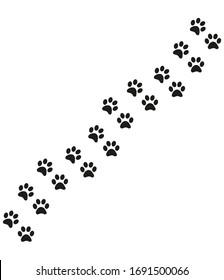 Track of cat dog tracks, footprint, design. Footprints of cat, turn right