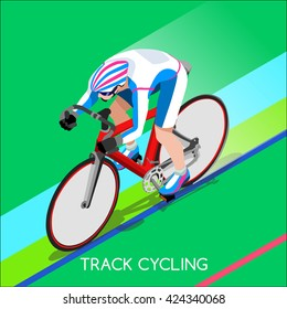 Track Cycling Cyclist character Bicyclist Athlete Sportsman icon set. 3D Isometric Athlete bike. Sport People Competition. Individual Sport Infographic Track Cycling Race olympics Vector illustration