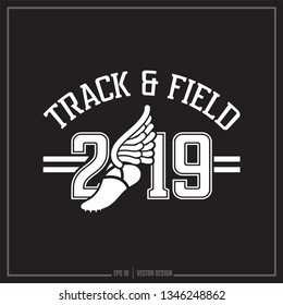 Track and Field, American Track Field, Winged shoe, 2019, Sports logo, Team design