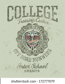 Track & field college meeting - Vintage athletic artwork for boy sportswear in custom colors