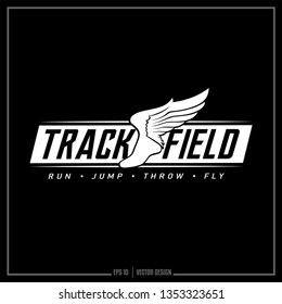 Track and Field logo with winged shoe, Sports Design, Track logo