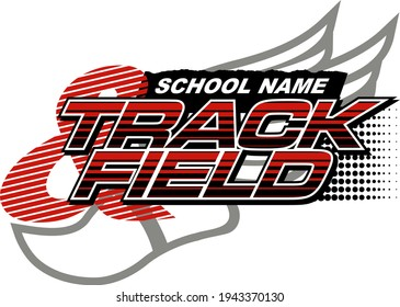 track and field team design with track foot for school, college or league