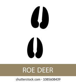Track of Forest Animal, Trace of a Roe Deer Animal , Vector Illustration