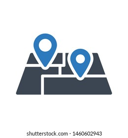 track location glyph colour vector icon