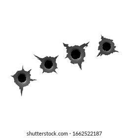 Track from machine gun. Bullet hole. Damage and cracks on surface from bullet. vector